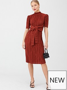 v-by-very-plisse-tie-front-midi-dress-rust