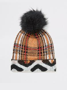 river-island-river-island-mixed-print-pom-beanie-hat-brown