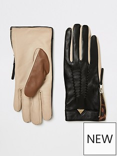 river-island-river-island-leather-colour-block-gloves-black