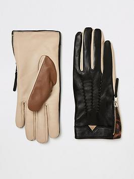 river-island-river-island-leather-colour-block-gloves-black