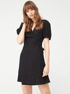 v-by-very-linen-wrap-dress-black