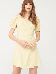 v-by-very-linen-wrap-dress-green