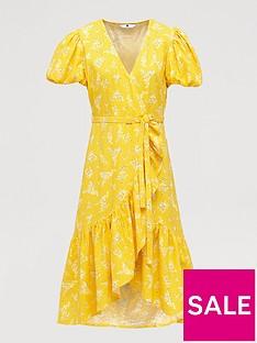 v-by-very-linen-wrap-ruffle-front-midi-dress-print