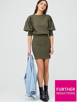 v-by-very-shirred-skirt-ruched-sleeve-linen-dress-khaki