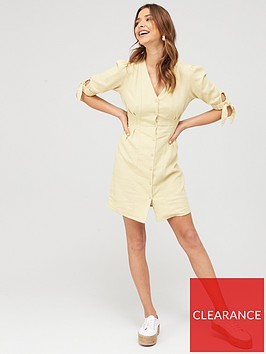 v-by-very-tie-sleeve-linen-button-through-mini-dress