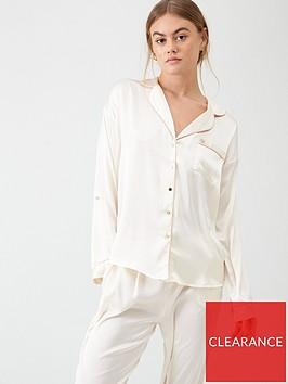 river-island-river-island-embroidered-woven-pyjama-top-cream