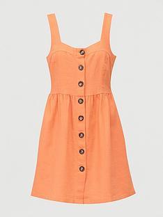 v-by-very-button-through-mini-linen-mixnbsppinny-dress-orange
