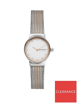 skagen-silver-and-rose-gold-dial-two-tone-stainless-steel-mesh-strap-ladies-watch