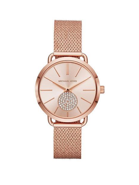 michael-kors-mk3845-portia-blush-sunray-dial-rose-gold-stainless-steel-mesh-strap-ladies-watch