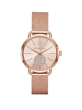 michael-kors-mk3845-portia-blush-sunray-dial-rose-gold-stainless-steel-mesh-strap-ladies-watch