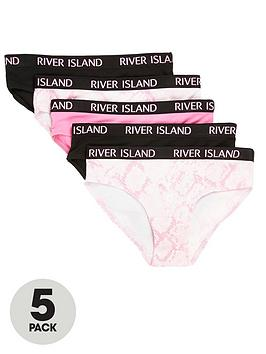 river-island-girls-5-pack-snake-briefs-pinkblack