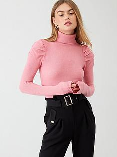 river-island-river-island-puff-sleeve-roll-neck-jumper--pink