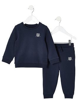 river-island-mini-mini-boys-rvr-sweatshirt-and-jog-pant-set-navy