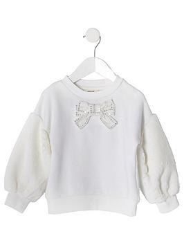river-island-mini-mini-girls-faux-fur-sleeve-sweat-cream