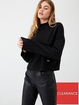 river-island-river-island-high-neck-cropped-knitted-jumper--black