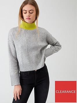 river-island-river-island-high-neck-cropped-knitted-jumper--grey-print