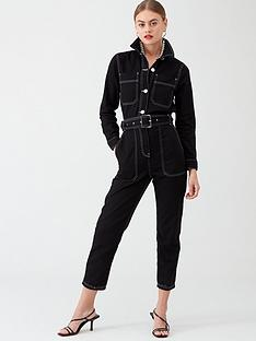 river-island-river-island-contrast-stitch-denim-belted-jumpsuit--black