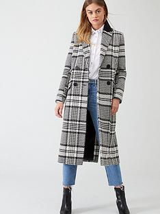 river-island-river-island-check-double-breasted-longline-coat--black