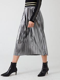 river-island-river-island-metallic-pleated-midi-skirt--silver