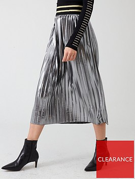 river-island-river-island-metallic-pleated-midi-skirt--silver
