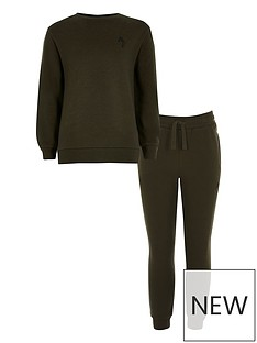 river-island-boys-logo-crew-neck-and-jogpant-set--khaki