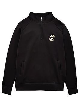 illusive-london-boys-funnel-neck-quarter-zip-hoodie-black
