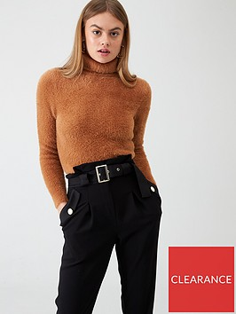 river-island-river-island-fluffy-cropped-high-neck-jumper--camel