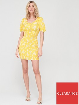 v-by-very-round-neck-shirred-mini-dress-yellow-floralnbsp