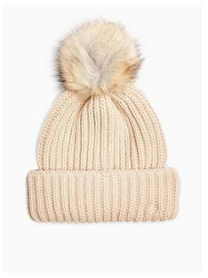 topshop-topshop-faux-fur-pom-pom-knitted-hat-camel