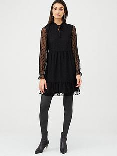 v-by-very-spot-mesh-tiered-mini-dress-black