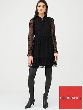 v-by-very-spot-mesh-tiered-mini-dress-black
