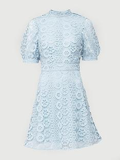 v-by-very-high-neck-blouson-sleeve-lace-skater-dress-mint