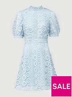v-by-very-high-neck-blouson-sleeve-lace-skater-dress-mint