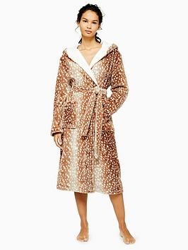 topshop-bambi-spot-long-robe-brown