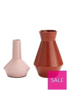set-of-2-feature-vases-ndash-mauve-and-burnt-orange