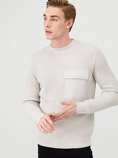 river-island-long-sleeve-woven-pocket-fisherman-crew-neck-jumper