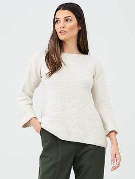 v-by-very-fluted-sleeve-jumper-stone