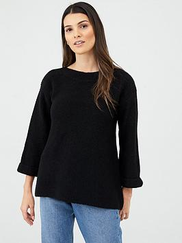 v-by-very-fluted-sleeve-jumper-black