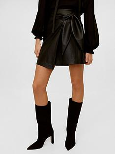 mango-leather-effect-mini-skirt-black