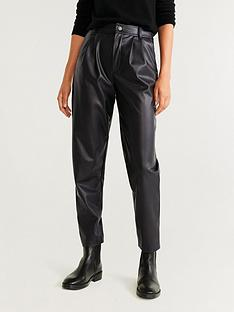 mango-faux-leather-tapered-trouser-black