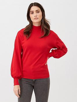 v-by-very-balloon-sleeve-grown-on-neck-jumper-red