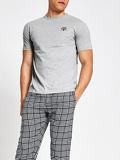 river-island-grey-check-short-sleeve-loungewear-set