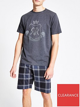 river-island-grey-rvr-printed-short-pyjama-set
