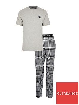 river-island-big-and-tall-grey-check-loungewear-set