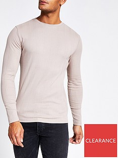river-island-stone-long-sleeve-muscle-fit-ribbed-t-shirt