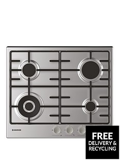 hoover-hhw6bf4mx-60-cm-gas-hob-4-burners-front-control-enamel-pan-supports-stainless-steel