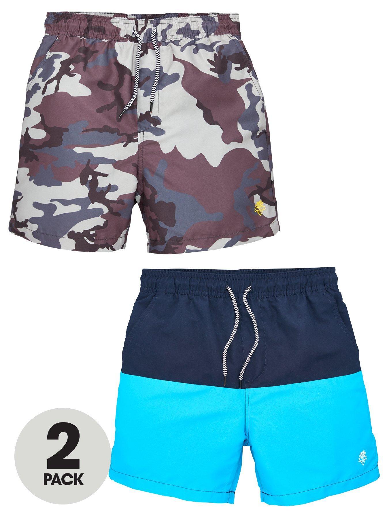 Baby Boys 2 pack Swim Trunks 1 x Light Blue with White Trim 1 x Navy Blue