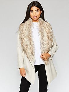quiz-pu-waterfall-faux-fur-trim-zip-jacket-neutral