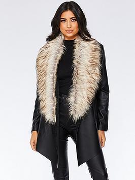 quiz-pu-waterfall-faux-fur-trim-zip-jacket-black