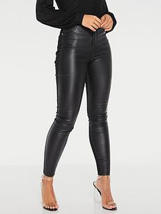quiz-pu-and-denim-high-waist-skinny-jean-black